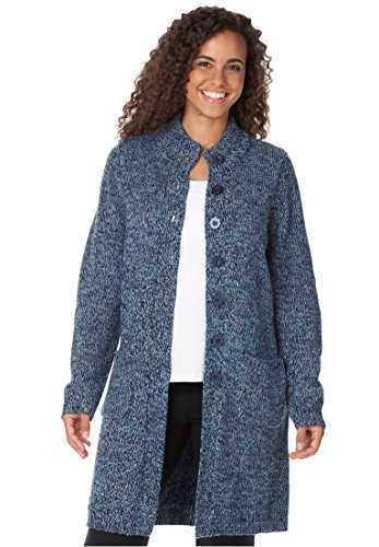 Woman Within Women's Plus Size Marled Sweater Jacket by Woman Within