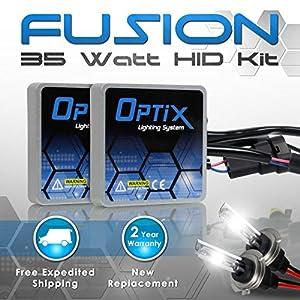 Optix 35W HID Xenon Headlight Conversion Kit Slim Digital Ballast - 1 pair - H7 - 6K 6000K Diamond White