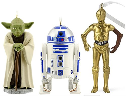 Bundle: Hallmark Star Wars Christmas Ornament Set: R2D2, C3P0, and Yoda