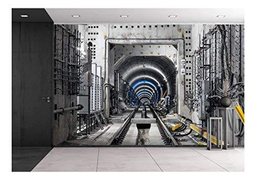 wall26 - Construction of The Subway Tunnel in Moscow - Removable Wall Mural   Self-Adhesive Large Wallpaper - 100x144 inches