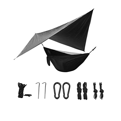 Ruixf 270cm X 140cm Hammock with Mosquito Net /& 360cm X 290cm Rain Fly Tarp Windproof Rainproof and UV Resistant for Outdoor Camping Hiking Picnic Travel Ultralight Parachute Nylon Load 300kg