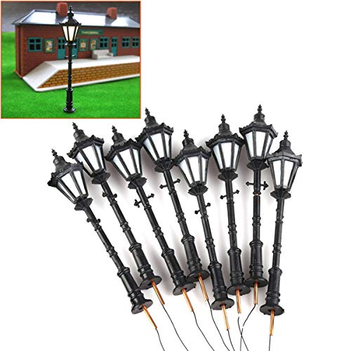 Iceyon 1:75 Scale Street Lamp Model LED Courtyard Lamppost Street Park Light Model Railway Model Trains Pack of 8 (H-6#)