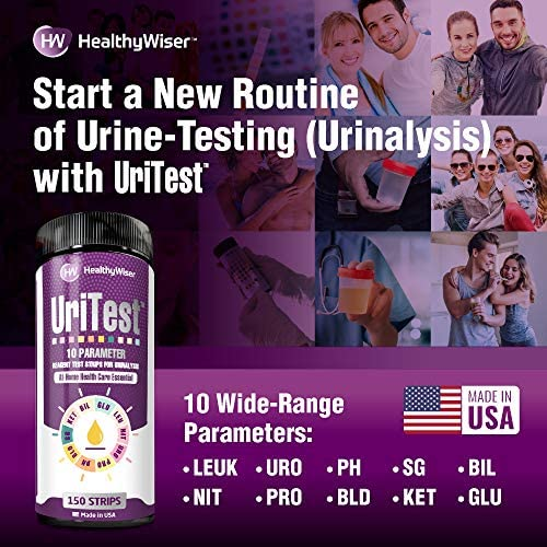 10 Parameters Urine Test Strips for Urinalysis. Made in USA. 150 Count. Includes: pH Test, Ketones, Protein. Reagent Test Paper. for Whole Family and Pets 7