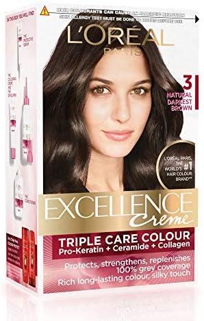 L\'Oreal Paris Excellence Creme Hair Color, 3 Natural Darkest Brown,  72ml+100g