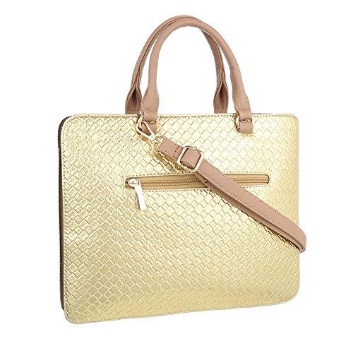 iTal-dEsiGn Damentasche Mittelgroße Schultertasche Handtasche Kunstleder TA-A179 Gold Beige