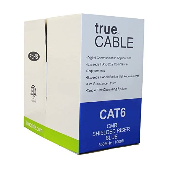trueCABLE Cat6 Shielded Riser (CMR), 1000ft, Blue, 23AWG Solid Bare Copper, 550MHz, ETL Listed, Overall Foil Shield (FTP), Bulk Ethernet Cable 4 HIGH PERFORMANCE NETWORK CABLE. This riser rated cat 6 lan cable is 23 AWG with 4 pairs (8C). The overall aluminum (AL) foil shield helps eliminate cross-talk and outside interference. Suitable for Fast, Gigabit, and 10-Gigabit Ethernet. Supports bandwidth of up to 550 MHz. HASSLE FREE PACKAGING. 1000 feet (305 meters) of our trueCABLE product has been packaged in a tangle free, easy pull box so you don't have to worry about getting behind on your next job. 100% SOLID BARE COPPER CONDUCTORS. Pure bare copper produces a stronger signal along with better conductivity and flexibility when compared to copper clad aluminum (CCA).