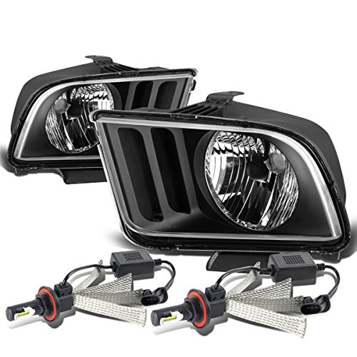 For Ford Mustang Pony 5th Gen Pair of OE Style Black Housing Headlight + H13 LED Conversion Kit ()