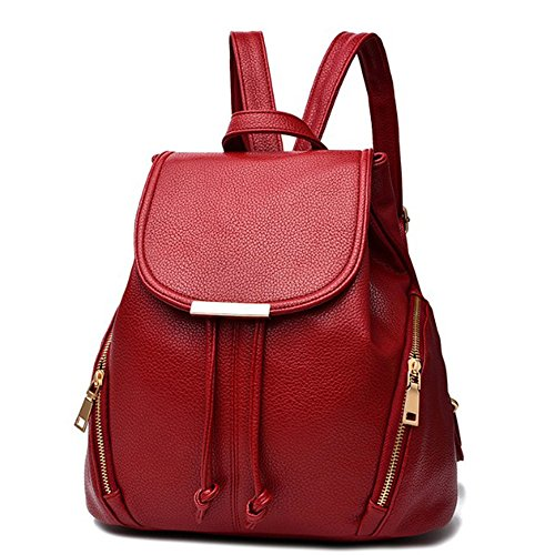 aiseyi Casual Fashion School Leather Backpack Shoulder Bag Mini Backpack for Women Girls Purse (Burgundy)