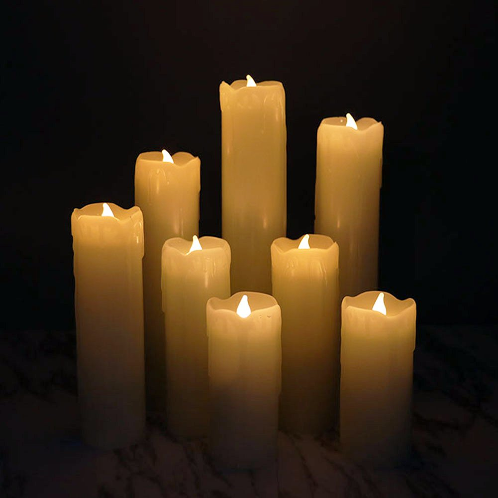 Set of 8 Flameless LED Candles with Timer, Battery Operated Candles with Remote Control, Ivory Wax Drip Finish, H4''/5''/6''/7''/8'', Long Lasting Batteies Included by Rhytsing (Image #4)