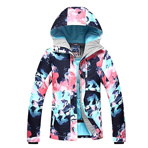 RIUIYELE Womens Ski Bib Suit Jacket Waterproof Snowboard Colorful Printed Ski Jacket and Pants Set