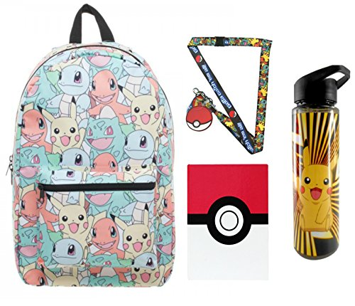 [Pokemon Pastel Backpack, Pikachu Water Bottle, Pokeball Notebook & Lanyard] (Slowpoke Costume)