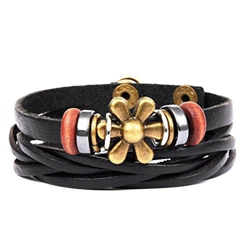 Womens Braided Leather Bracelet Sunflower