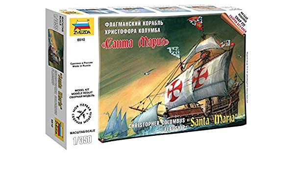 Zvezda 1/350 Christopher Columbus Flagship Santa Maria # 6510 - Plastic Model Kit by Zvezda: Amazon.es: Juguetes y juegos