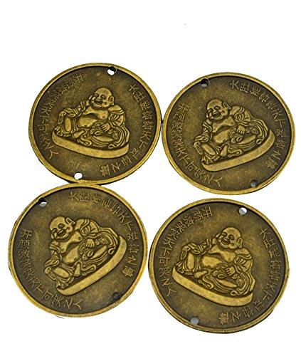 (4pcs Chinese Coin W Laughing Buddha Dia:2.2