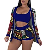 Nrthye Women Sexy Clubwear Crop Top Short Pants with Floral Print Jacket 3 Piece Outfits
