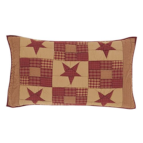 VHC Brands Classic Country Primitive Bedding - Ninepatch Star Red Sham, King, ()