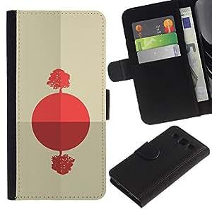 YiPhone /// Tirón de la caja Cartera de cuero con ranuras para tarjetas - Salida del sol africana abstracta - Samsung Galaxy S3 III I9300
