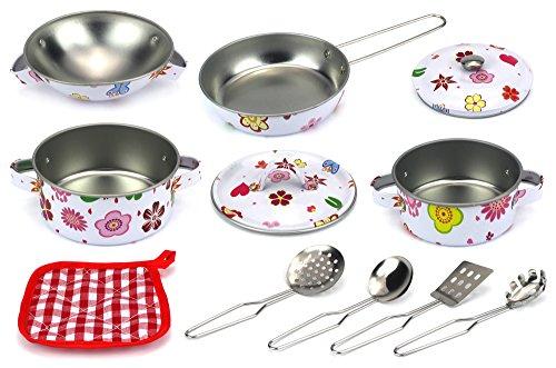 - Flower Dream Kitchen Complete 11 Pcs. Metal Children's Kid's Toy Kitchenware Playset w/ 2 Pots, Pan, 2 Lids, Bowl, Utensils, Oven Mitt