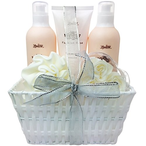 White Rose Shower Gel (Spa Gift Basket, Bath and Body Set with Fashion Rose by Lovestee - Bath Gift Basket Includes Shower Gel, Bubble Bath, Body Lotion, Elegant White Flower Soap and an Eva Puff - Christmas gifts)