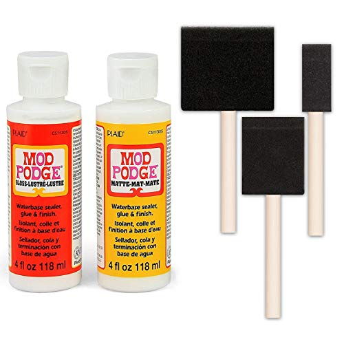 Mod Podge Decoupage Starter Kit Bundle, Gloss and Matte Medium with 3 Pixiss Foam Brushes 1-Inch, 2-Inch, 3-Inch]()