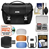 Nikon Deluxe Digital SLR Camera Case - Gadget Bag with Pop-up Filter Set + Kit for D3200, D3300, D5300, D5500, D7100, D7200, D610, D750, D810