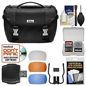 Nikon Deluxe Digital SLR Camera Case - Gadget Bag with Pop-up Filter Set + Kit for D3200, D3300, D5300, D5500, D7100, D7200, D610, D750, D810