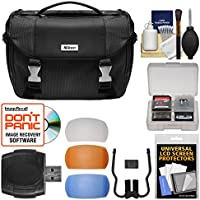 Nikon Deluxe Digital SLR Camera Case - Gadget Bag with Pop-up Filter Set + Kit for Df, D610, D750, D810, D7100, D7200, D5500, D5600, D3300, D3400