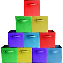 [10-Pack,Assorted Colors] Premium Quality Foldable Cloth Storage Bins For Shelves, Baskets, Cubes, Containers, Home Decorative Closet, Organizer Household, Fabric Cloth ,Collapsible Box, Toys Storages