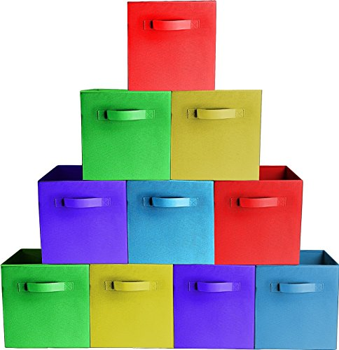 [10-Pack,Assorted Colors] Premium Quality Foldable Cloth Storage Bins For Shelves, Baskets, Cubes, Containers, Home Decorative Closet, Organizer Household, Fabric Cloth ,Collapsible Box, Toys (12 Assorted Bins)
