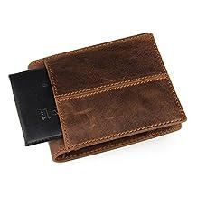 Men's RFID Blocking Genuine Leather Pocket Wallet Zipper Coin Pocket Card Case