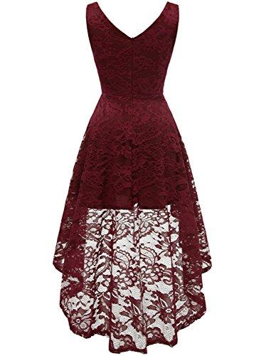 Low Demoiselle Femme V High Asymtrique Robe Jupe Col Manches en Bordeaux d'honneur MuaDress Fille sans Dentelle x5wnqYTpxt