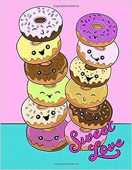 Sweet Love Cute Kawaii Donut 85x11 Doodle Notebook For