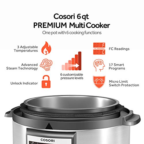 COSORI Upgraded 6 Quart 9-in-1 Programmable Pressure Cooker with 16 Built-In Programs, Stainless Steel Pot & All Cooking Essentials, Slow Cooker,Rice Cooker,Steamer,Sauté,Yogurt Maker,Hot Pot & Warmer by COSORI (Image #8)'