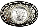 "U.S. Silver Dollar Belt Buckle 3.5"" x 2-3/8"" - Silver Plated & Black Enamel – with Uncirculated Peace Dollar"
