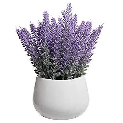 Garden White Ceramic Tabletop Artificial Potted Plant / Modern Decorative Fake Lavender Flowers - MyGift