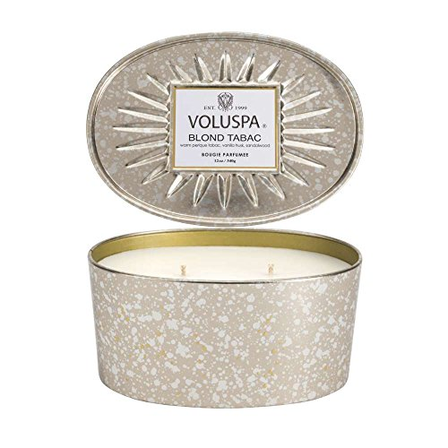 Voluspa Blond Tabac 2 Wick Oval Tin Candle, 12 Ounces