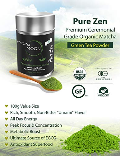 Matcha Moon - Organic Ceremonial Grade Japanese Matcha Green Tea Powder from Uji Kyoto Japan - Authentic, Premium, USDA Certified - Best For Traditionally Whisked Tea - Pure Zen - Value Size 100g Tin by Matcha Moon (Image #2)