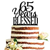 Classy Black Acrylic 65 Years Blessed Cake Topper, 65th Birthday Anniversary Party Decorations (65, Black)