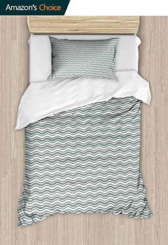 (Temox Abstract Bedding Bedspread, Curvy Different Sized Lines Bold Stripes Ocean Waves Inspired Pattern, Colorful Floral Print - 2-Pieces,79 W x 90 L Inches, Pale Sage Green White)