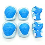Cooplay 6pcs Small Size Sky Blue Color Elbow Wrist Protective Knee Pads Protective Gear Guard Adjustable for Kids Boy Children Skateboard Bicycle Ice Skate Roller Skating Cycling RidingOutdoor Sports
