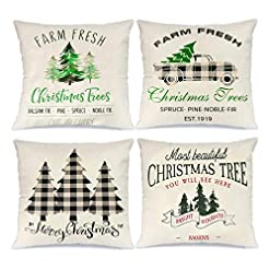Christmas Farmhouse Home Decor Innge Christmas Pillow Covers 18 x 18 Inch Set of 4 Winter Holiday Farmhouse Christmas Decorations Throw Pillow Cases… farmhouse christmas pillow covers