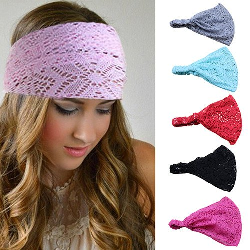 Bodermincer 8 Colors/set Women Girl Bandanas Lace Flower Beach Headband Hair Band Chic Wide Headwraps Accessories Hot Sale (8 Colors/set) -