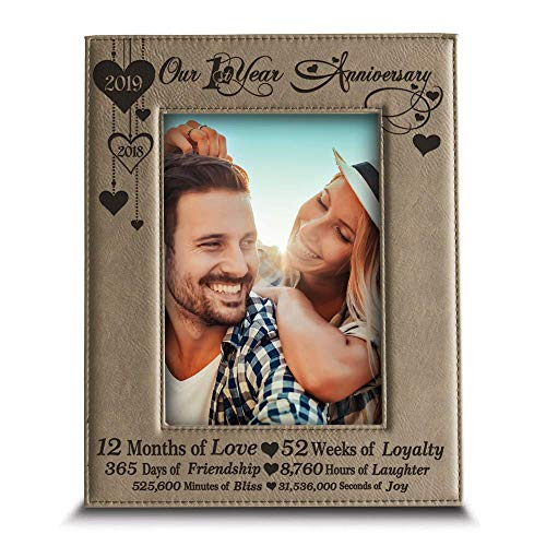 BELLA BUSTA - Our 1st Year Anniversary-2018->2019- Months, Week, Days, Hours, Minutes -Engraved Leather Picture Frame for Couple-Our 1st (5