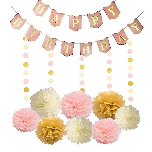 Happy Birthday Banner Flag 8 Pcs Colorful Paper Pom Poms Flower and 4 Meters Ribbon for Birthday (Store Decorations)