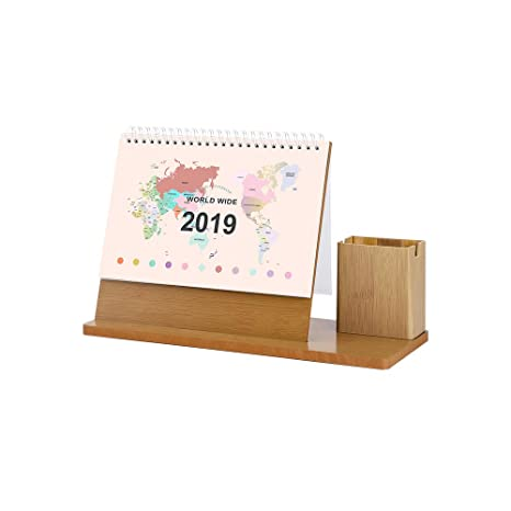 Amazon.com: Zhi Jin - Agenda mensual de madera con soporte ...