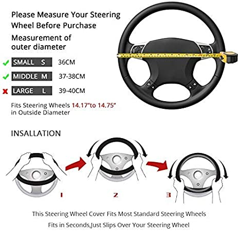 White Universal Steering Wheel Cover Fit 15 Inch, Dual Port Fast USB Adapter Charger, Type C//Micro Charging Cable, Bling Car Decor Set 4 Pack Bling Car Accessories Set for Women