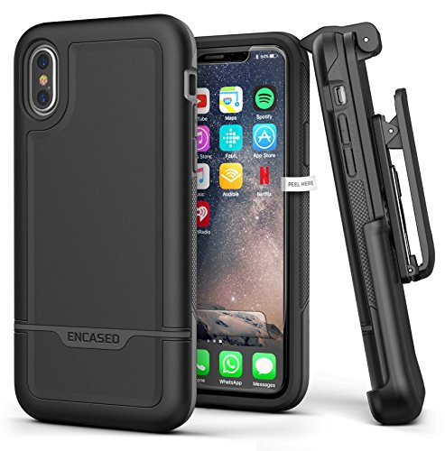 Heavy Duty iPhone Xs Case Belt Clip Holster - Encased Black Protective Hybrid Cover (Rebel Armor) Designed for Apple iPhone X/iPhone Xs ()