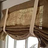 Burlap Window Curtain Valance with Straps Review