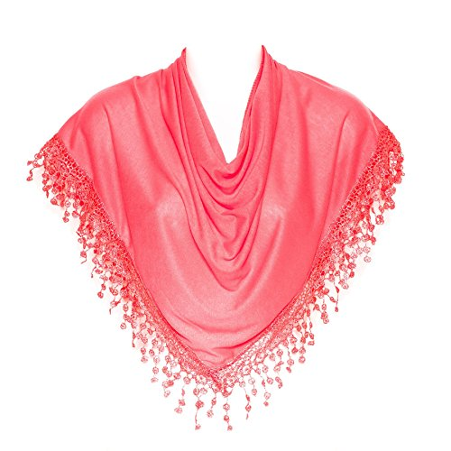 Stylish Coral Pink Triangle Bobbin Lace Fringed Ladies Womens Scarf Shawl - Triangle Coral Pink