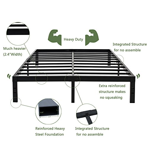 Heavy Duty 14 Inch Steel Slat Bed Frame/ Easy Assembly Mattress Foundation/ Reinforced Strong Support Platform King Black